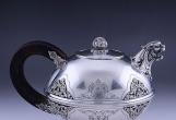 英国手工錾花925纯银茶壶